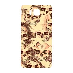 Cloudy Skulls Beige Samsung Galaxy Alpha Hardshell Back Case by MoreColorsinLife