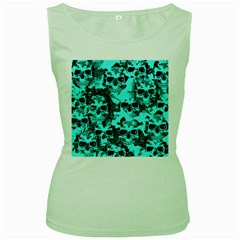 Cloudy Skulls Aqua Women s Green Tank Top by MoreColorsinLife