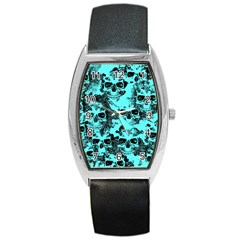 Cloudy Skulls Aqua Barrel Style Metal Watch by MoreColorsinLife