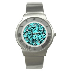 Cloudy Skulls Aqua Stainless Steel Watch by MoreColorsinLife