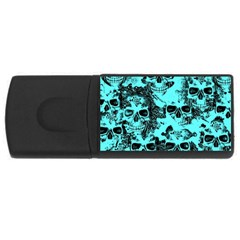Cloudy Skulls Aqua Usb Flash Drive Rectangular (4 Gb) by MoreColorsinLife