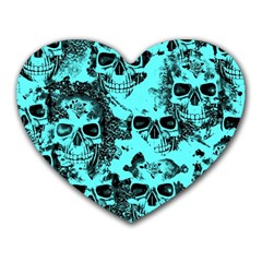Cloudy Skulls Aqua Heart Mousepads by MoreColorsinLife