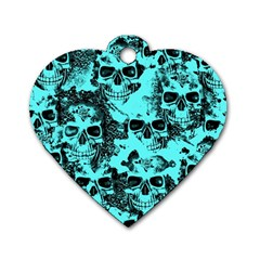 Cloudy Skulls Aqua Dog Tag Heart (one Side) by MoreColorsinLife