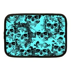 Cloudy Skulls Aqua Netbook Case (medium)  by MoreColorsinLife