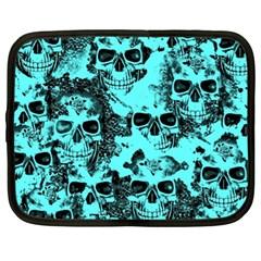 Cloudy Skulls Aqua Netbook Case (xl)  by MoreColorsinLife