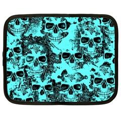 Cloudy Skulls Aqua Netbook Case (xxl)  by MoreColorsinLife