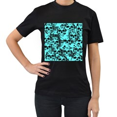 Cloudy Skulls Aqua Women s T Shirt (black) by MoreColorsinLife