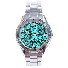 Cloudy Skulls Aqua Stainless Steel Analogue Watch by MoreColorsinLife
