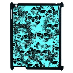 Cloudy Skulls Aqua Apple Ipad 2 Case (black) by MoreColorsinLife