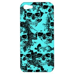 Cloudy Skulls Aqua Apple Iphone 5 Hardshell Case by MoreColorsinLife