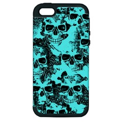 Cloudy Skulls Aqua Apple Iphone 5 Hardshell Case (pc+silicone) by MoreColorsinLife