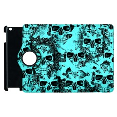 Cloudy Skulls Aqua Apple Ipad 3/4 Flip 360 Case by MoreColorsinLife