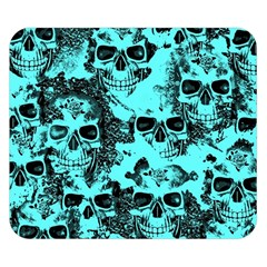 Cloudy Skulls Aqua Double Sided Flano Blanket (small)  by MoreColorsinLife