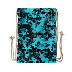 Cloudy Skulls Aqua Drawstring Bag (small) by MoreColorsinLife