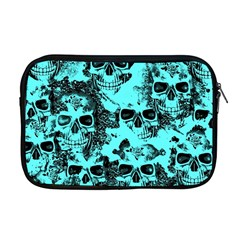 Cloudy Skulls Aqua Apple Macbook Pro 17  Zipper Case by MoreColorsinLife