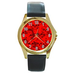 Cloudy Skulls Red Round Gold Metal Watch by MoreColorsinLife