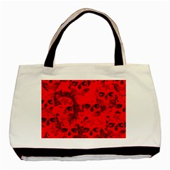 Cloudy Skulls Red Basic Tote Bag by MoreColorsinLife