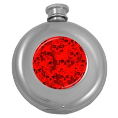 Cloudy Skulls Red Round Hip Flask (5 Oz) by MoreColorsinLife