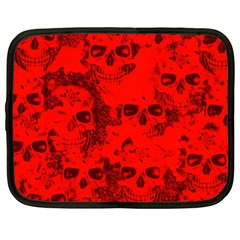 Cloudy Skulls Red Netbook Case (xxl)  by MoreColorsinLife