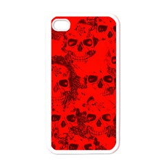 Cloudy Skulls Red Apple Iphone 4 Case (white) by MoreColorsinLife