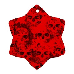 Cloudy Skulls Red Ornament (snowflake) by MoreColorsinLife