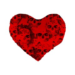 Cloudy Skulls Red Standard 16  Premium Flano Heart Shape Cushions by MoreColorsinLife