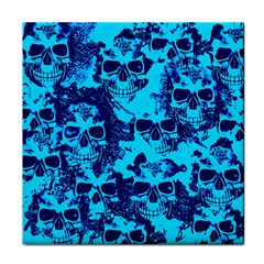 Cloudy Skulls Blue Tile Coasters by MoreColorsinLife