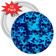 Cloudy Skulls Blue 3  Buttons (10 Pack)  by MoreColorsinLife