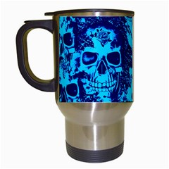Cloudy Skulls Blue Travel Mugs (white) by MoreColorsinLife