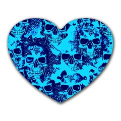 Cloudy Skulls Blue Heart Mousepads by MoreColorsinLife