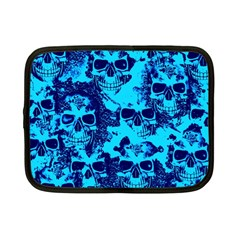 Cloudy Skulls Blue Netbook Case (small)  by MoreColorsinLife