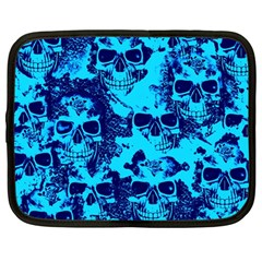 Cloudy Skulls Blue Netbook Case (large) by MoreColorsinLife