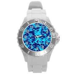Cloudy Skulls Blue Round Plastic Sport Watch (l) by MoreColorsinLife
