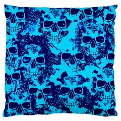 Cloudy Skulls Blue Large Cushion Case (two Sides) by MoreColorsinLife