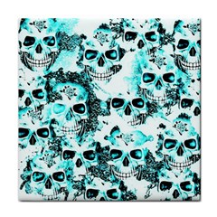 Cloudy Skulls White Aqua Tile Coasters by MoreColorsinLife