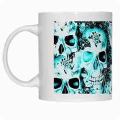 Cloudy Skulls White Aqua White Mugs by MoreColorsinLife