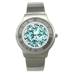 Cloudy Skulls White Aqua Stainless Steel Watch by MoreColorsinLife