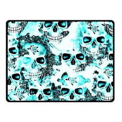 Cloudy Skulls White Aqua Fleece Blanket (small) by MoreColorsinLife