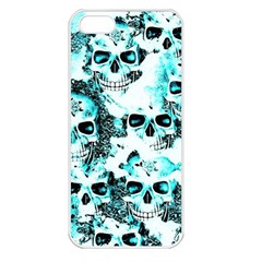 Cloudy Skulls White Aqua Apple Iphone 5 Seamless Case (white) by MoreColorsinLife