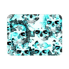 Cloudy Skulls White Aqua Double Sided Flano Blanket (mini)  by MoreColorsinLife