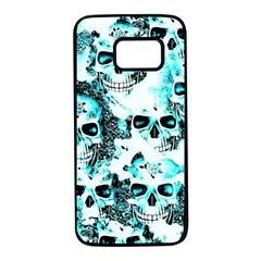 Cloudy Skulls White Aqua Samsung Galaxy S7 Black Seamless Case by MoreColorsinLife