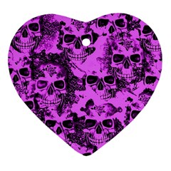 Cloudy Skulls Pink Ornament (heart) by MoreColorsinLife