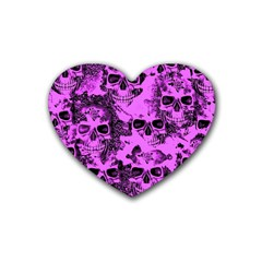 Cloudy Skulls Pink Rubber Coaster (heart)  by MoreColorsinLife
