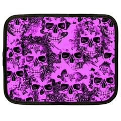 Cloudy Skulls Pink Netbook Case (xl)  by MoreColorsinLife