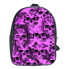 Cloudy Skulls Pink School Bags(large)  by MoreColorsinLife