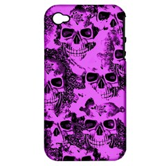 Cloudy Skulls Pink Apple Iphone 4/4s Hardshell Case (pc+silicone) by MoreColorsinLife