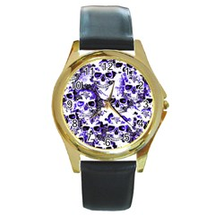 Cloudy Skulls White Blue Round Gold Metal Watch by MoreColorsinLife