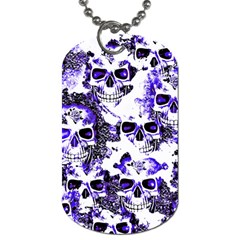 Cloudy Skulls White Blue Dog Tag (two Sides) by MoreColorsinLife