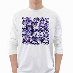 Cloudy Skulls White Blue White Long Sleeve T Shirts by MoreColorsinLife
