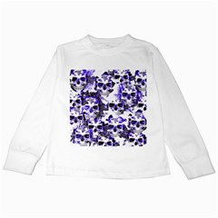 Cloudy Skulls White Blue Kids Long Sleeve T Shirts by MoreColorsinLife